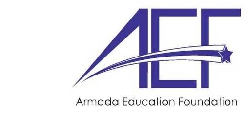 Armada Education Foundation Logo, AEF with a shooting star through it!