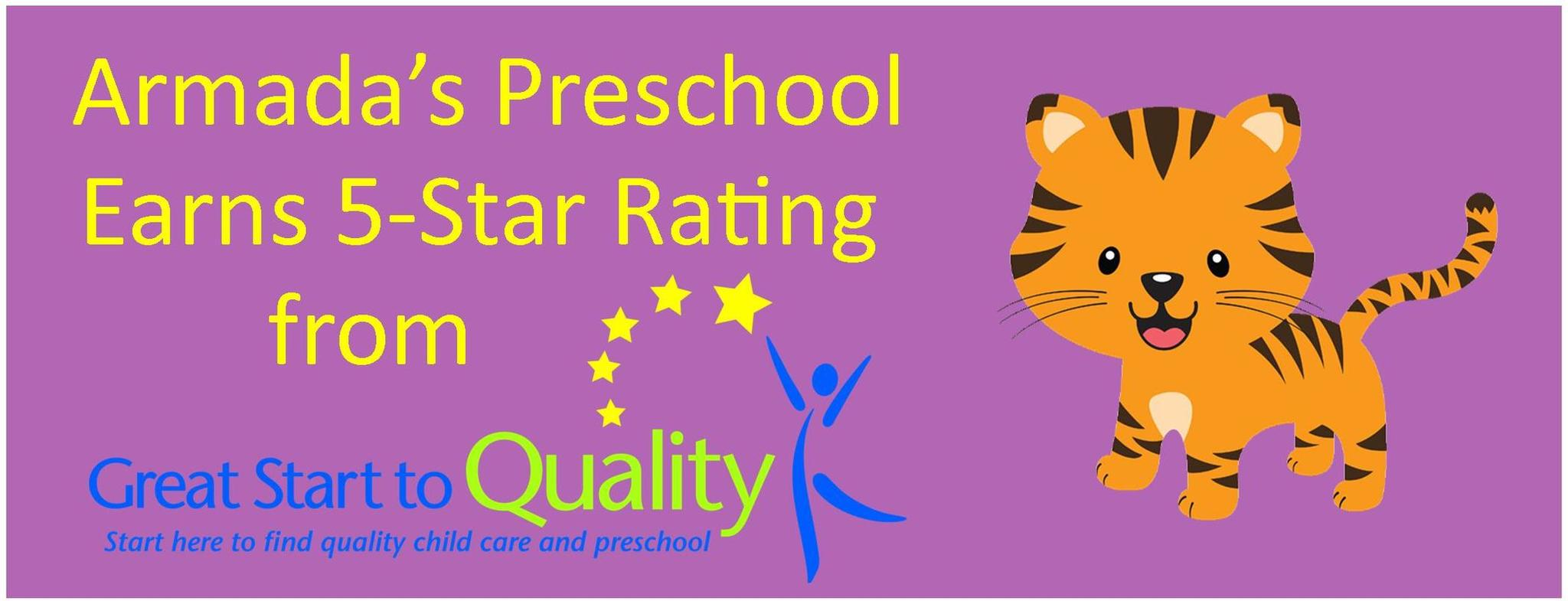 Armada's Preschool Earns Prestigious 5 Star Rating from Great Start to Quality