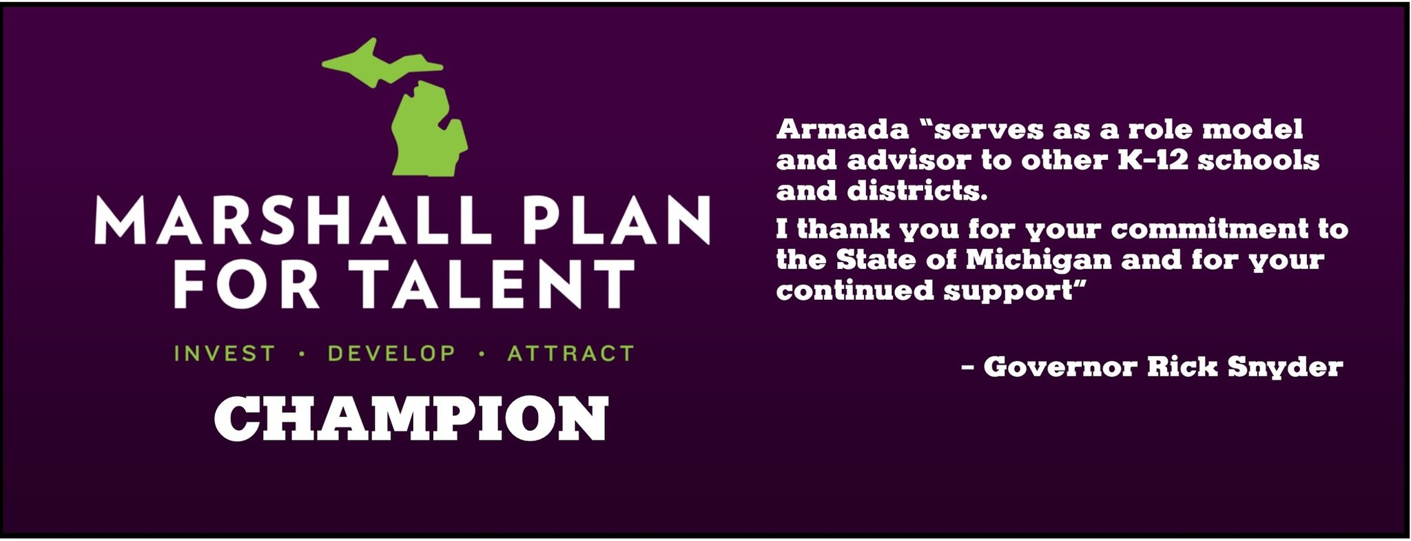 Armada Area Schools Named A Michigan Marshall Plan Champion