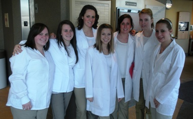 Picture of Health Occupation Students of America doing rounds at Crittenton Hospital.