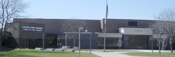 Picture of the front of Armada High School