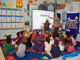 Picture of a class being instructed at a Smart Board