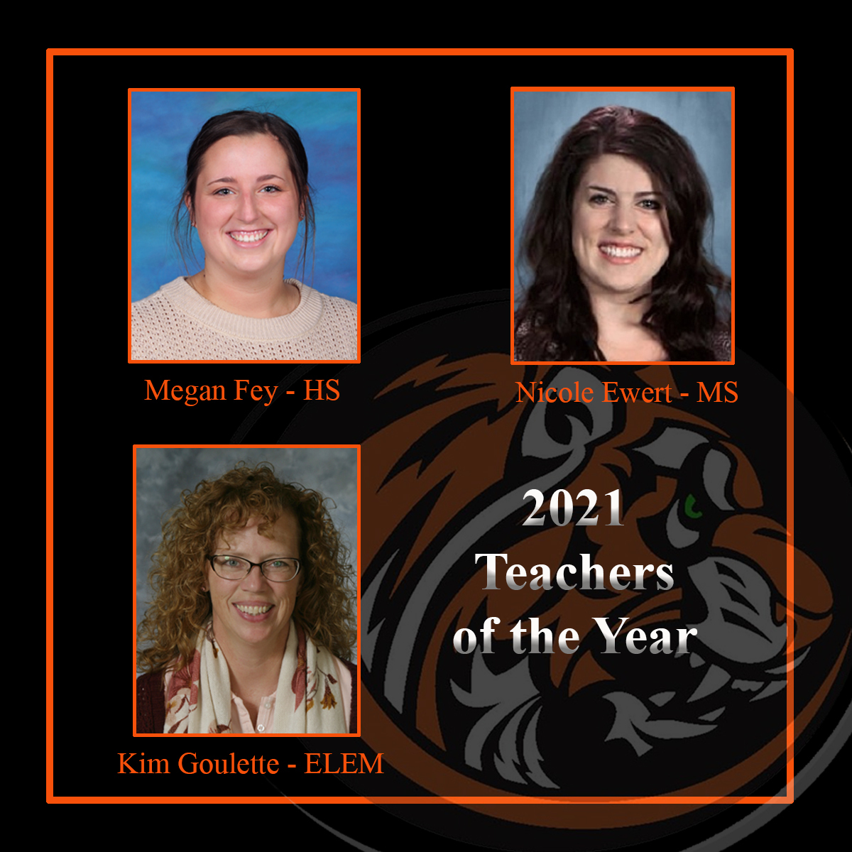 Picture of Teachers of the Year 2021, Megan Fey, Nicole Ewert and Kim Goulette